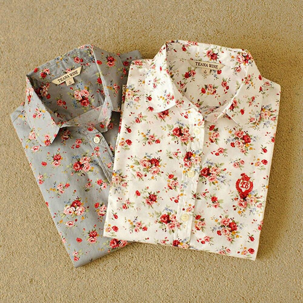2017 mujeres de La Moda de algodón Floral print Vintage flor blusa Camisa casual