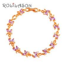 Glittering Zircon Charm Bracelets Wedding Accessories for Women Gold Tone Health Purple Zirconia Fashion Jewelry TB1037