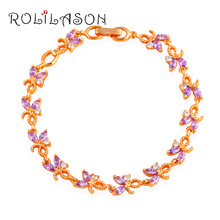 Glittering Zircon Charm Bracelets Wedding Accessories for Women  Gold Tone Health Purple Zirconia Fashion Jewelry TB1037