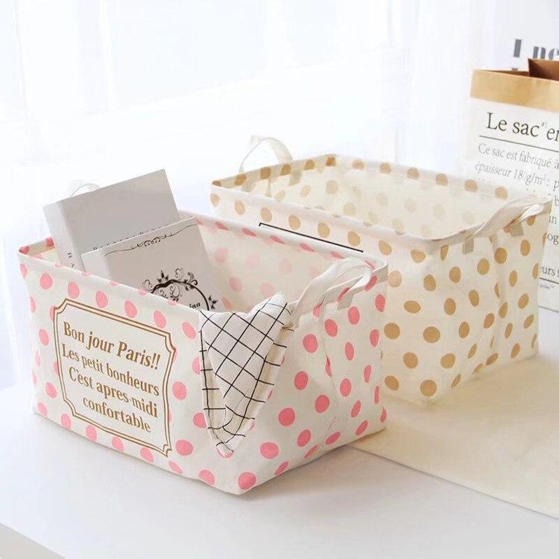 Cute Square Laundry Basket Makeup Desktop Storage Box Desktop Folding Sundries Storage Basket Toy Dirty Clothes Storage Bucket