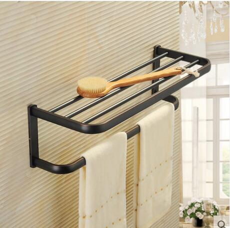 New Arrivals Square Antique Fixed Bath Towel Holder Solid Brass Towel Rack Holder for Hotel or Home Bathroom Storage Rack Shelf high quality oil black fixed bath towel holder brass towel rack holder for hotel or home bathroom storage rack rail shelf