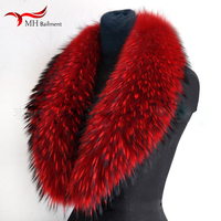 Real Raccoon Fur Scarves Woman 100% Pure Natural Raccoon Fur Collar Warm Winter Scarves Red Fox Fur Collar M8