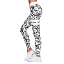 Fitness sports ladies leggings knit printed high waist fitness yoga pants push stretch