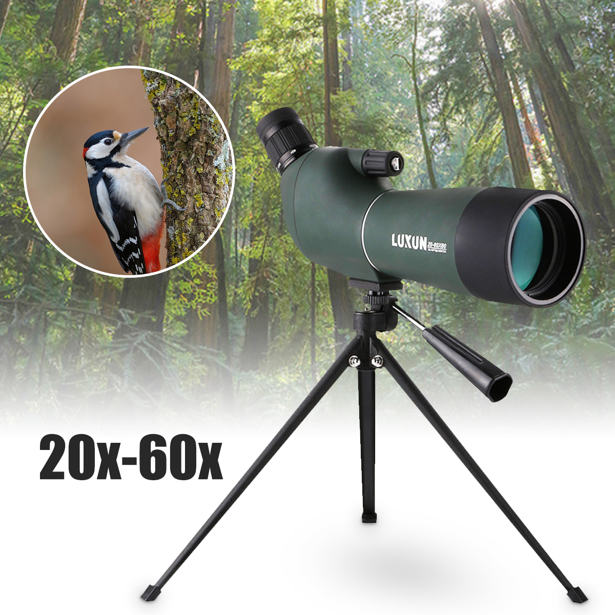 20-60x60mm Night Vision Spotting Scope Telescope Zoom 60mm Waterproof Birdwatch Hunting HD Monocular Tripod Outdoor Camping 15 45x60 spotting scope waterproof telescope 60mm 15 45x zoom birdwatch long range hunting monocular with tripod mount page 1
