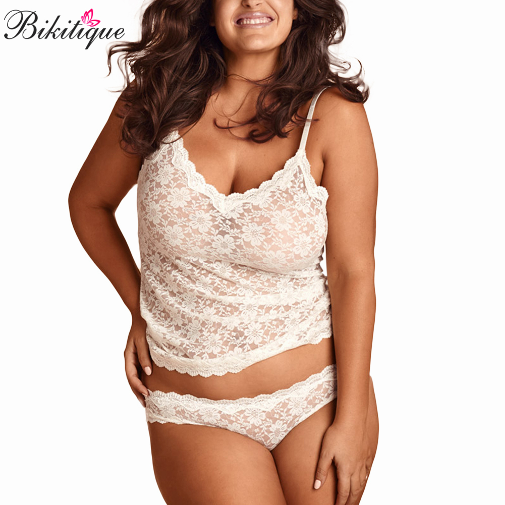 Bikitique Plus Size Women Sexy lingerie   Set   Sexy Mesh Underwear   Pajamas     Set   Sleepwear Hot Erotic Eyelash Lace Sling lingerie   Set