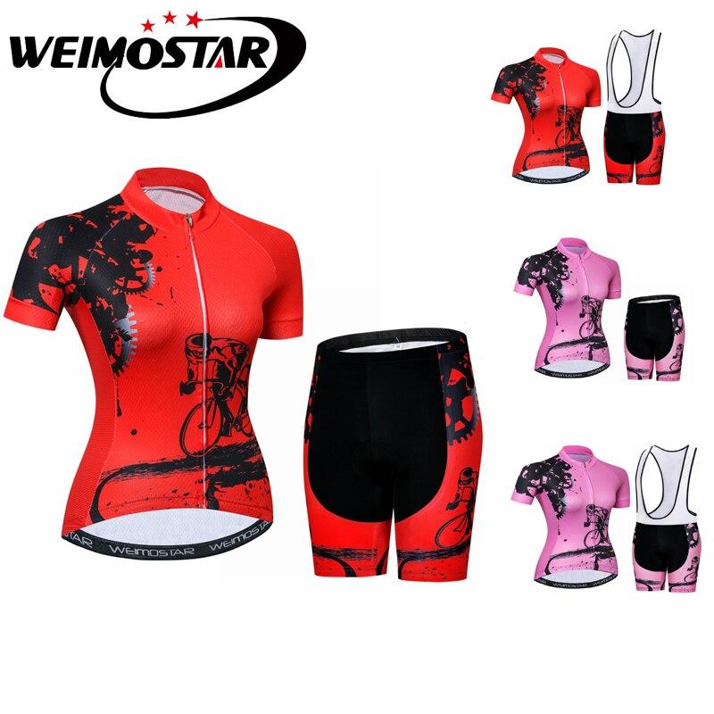 Weimostar Red Pink cycling jersey set team Girl women short sleeve mtb jersey Bike clothing ropa