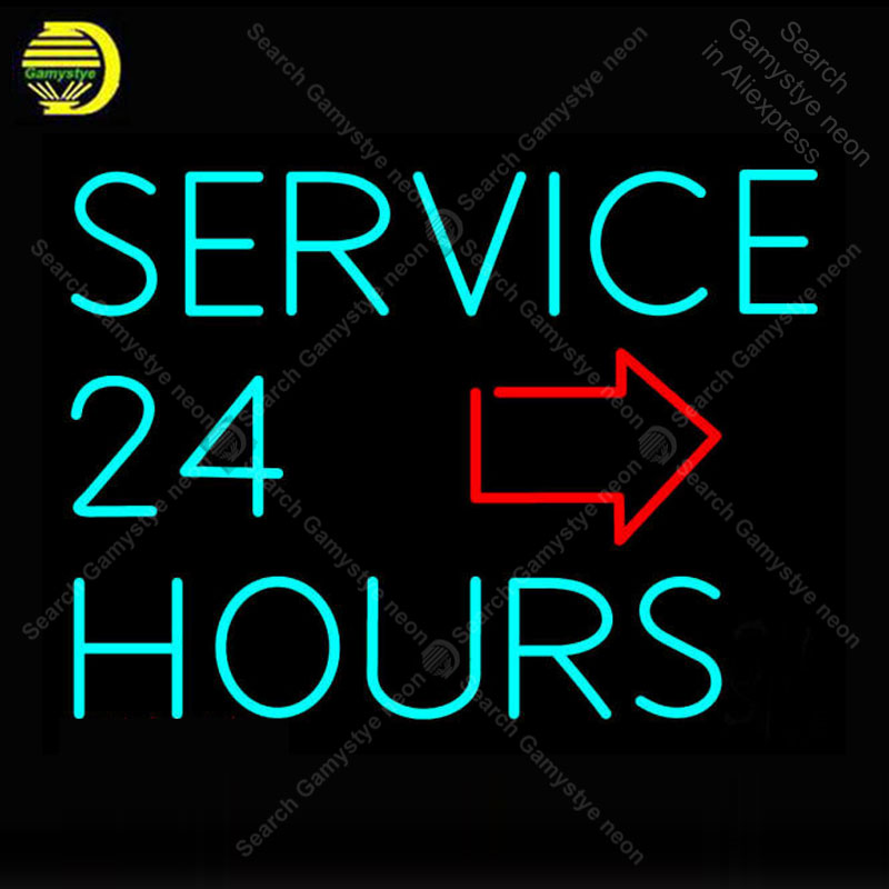 Service 24 Hours with Arrow Neon Sign Handmade neon light Sign Decorate Fruit Store room Iconic Neon Light Lamp Advertise BrightService 24 Hours with Arrow Neon Sign Handmade neon light Sign Decorate Fruit Store room Iconic Neon Light Lamp Advertise Bright