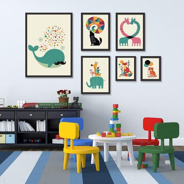 Jerapah Gajah Poster Bunga Nordik Kartun Animal Rubah Dan Cetakan Singa Kanvas Seni Gambar Untuk
