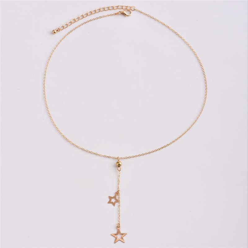 Sunmall metalowa kula gwiazda Craft kobieta łańcuch sweter gorący bubel kobieta kolor srebrny złoty kolor łańcuch liny dla dziewczyny naszyjnik