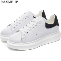 RASMEUP White Platform Sneakers Women 2019 Brand Spring Leather Breathable Casual Lightweight Women's Shoes Female Flat Footwear