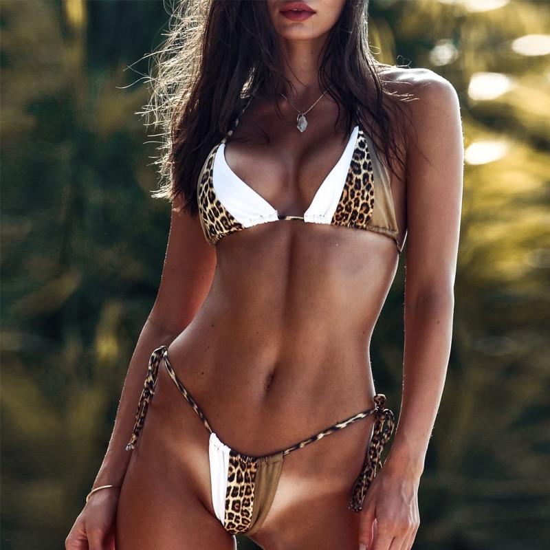 Peachtan Halter leopard bikini 2020 ladies swimwear women Sexy swimsuit Female bathing suit Summer beach wear Micro bikini set 4