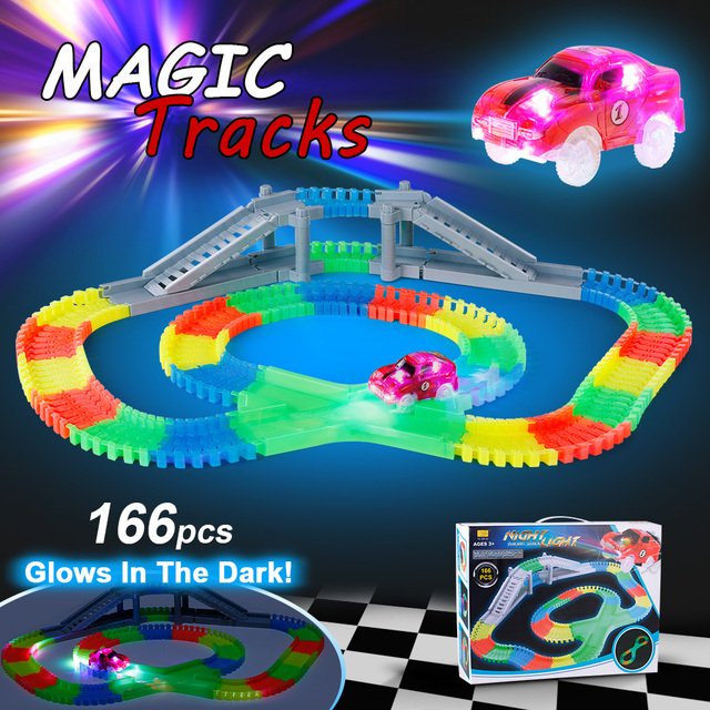 166pcs 55mm glow racing track set with 2 led light track car 166pcs 55mm glow racing track set with 2 led light track car flexible glowing twisted tracks mozeypictures Image collections