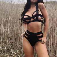 Lenceria Bandage Bra Set Underwear Club Wear Black Bikini And Panty Set G Stringi Plus Size Women Sexy Lingerie