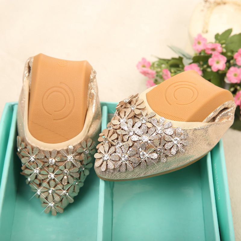 Woman Flat Shoes Elegant Comfortable Lady Fashion Rhinestone Sequin clothPointed Toe Women Soft Shoes