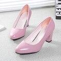 Весна мелкая рот толстый каблук туфли вечерние туфли на высоком каблуке круглый носок плюс размер черный рабочая обувь