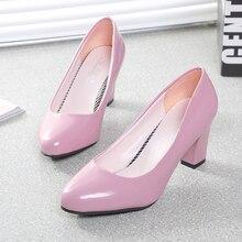 Printemps bouche peu profonde épais talon chaussures formelle chaussures à talons hauts bout rond, plus la taille noir travail chaussures