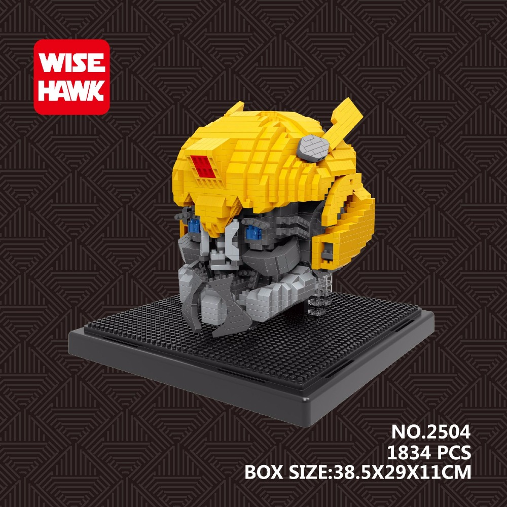 Wisehawk Block Bumblebee DIY Building Toys Plastic mini Blocks Cartoon Model Collection with LED Children Toy for BOY Gifts 2503 transformers маска bumblebee c1331
