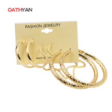 Здесь можно купить   New Design Big Hoop Earrings For Women Shiny Gold Plated Star/Circle Earrings Set Hollow Out Design Steampunk Ear Accessories Fashion Jewelry
