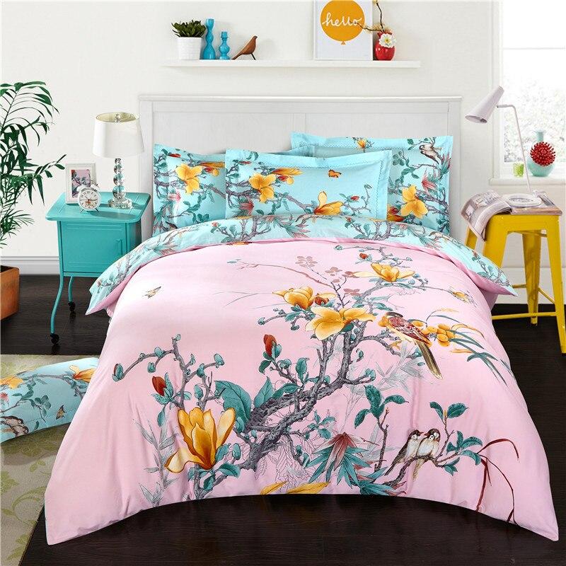 4pcs 100 cotton soft bed sheet set floral designer boho for Living room quilt cover