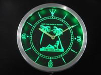nc0384 OPEN Tiki Sex Bar Leave Pants Beer Neon Light Signs LED Wall Clock