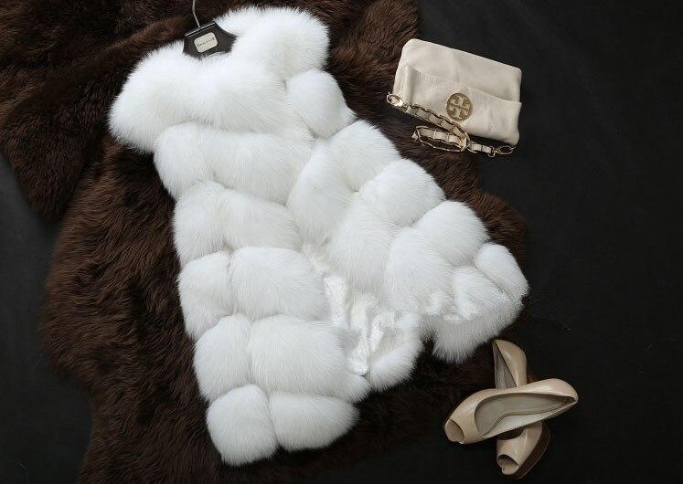 Высококачественная меховая жилетка, роскошное пальто из искусственного лисьего меха, теплое Женское пальто, жилетки, Зимняя мода, меховые женские пальто, куртка, жилетка, жилет, 4XL - Цвет: white