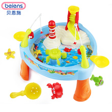 Beiens DIY Fishing Toy Games Fishing Plastic Toy Magnetic Kids Toy Fish Pool  Gift  Parent-child interaction With Music Light