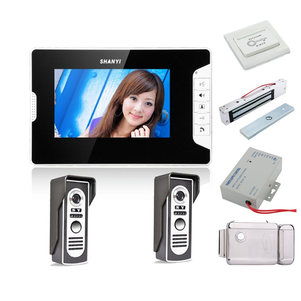 Home Set 7 Inch Color LCD Monitor 1to2 Video Door Phone Doorbell Intercom Kit ABS Plastic IR Camera With Night Vision