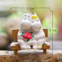 Free shipping party supply Moo Hippo lover on bench Mini PVC toy figure succulent plant cake car valley office decoration gifts