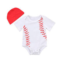 Infant Baby Boys Girls Clothing Baseball Cotton Romper Outfits Jumpsuit Hat Clothes 0-24M(China)