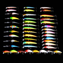 43pcs/lot Fishing Lures set Mix Colors Bait Mixed Size Tackle Minnow Lures/Popper Lures/Crank Sets
