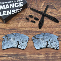 ToughAsNails Resist Seawater Corrosion Silver Polarized Replacement Lenses and Ear Socks & Nose Pads for Oakley Flak 2.0 XL
