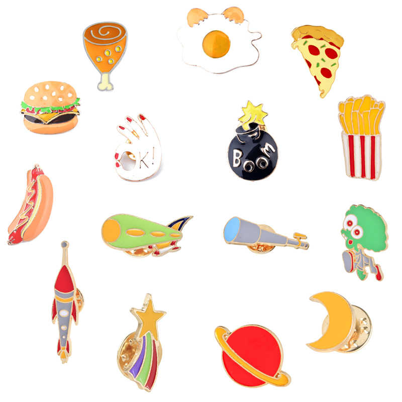 Pin Fashion Kartun Bros Burger Pizza Hot Dog Telur Kaki Teleskop Bintang Roket Kreatif Enamel Pin Lencana Pesona Bros Perhiasan