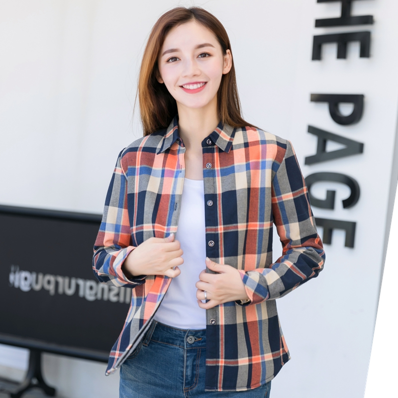 Naiste ruuduline särk Blusas puuvillane pikkade varrukatega pluusid 2018 uus mood naissoost casual pluss suurus kontori stiil naiste riietus särk