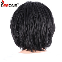 Leeons 12inchMicro Braid Wig African American Braided Wigs High Temperature Fiber Hair For Black Women Short Bob Wig With Bangs