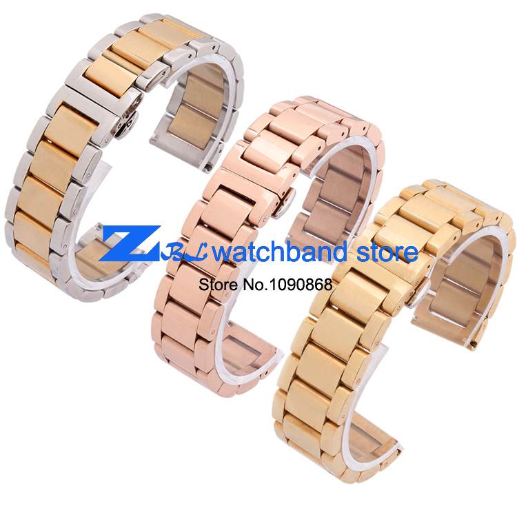 Paslanmaz çelik Kordonlu Saat Saatı bant metal kayış kelebek toka - Saat Aksesuarları - Fotoğraf 1