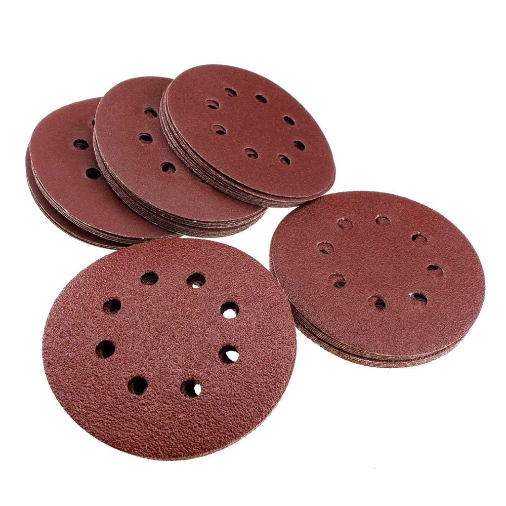Retail 50pcs 150mm Sanding Discs 40 60 80 100 120 Grit Sander Sandpaper Eight Hole Disk Sand Sheets Hook And Loop Sanding Disc