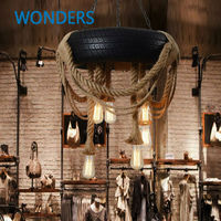 Лофт Nordic Творческий шин пеньковая веревка Droplight промышленные Ресторан Cafe Гостиная Костюмы декоративный подвесной светильник в стиле ретро