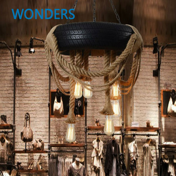 loft Nordic Creative Tire Hemp Rope Droplight Industrial Restaurant Cafe Living Room Clothing Decorative Retro pendant Lamp novelty volcanic stone led pendant lamp reisn hemp rope creative droplight hanglamp fixtures for home lightings cafe living room