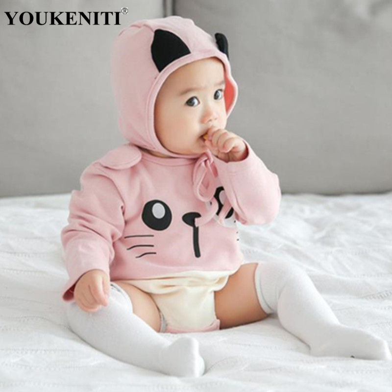 2018 Autumn Baby Girls Cute Bodysuits With Cartoon Hat Pattern Cotton Fashion One-Pieces Girl Clothings Jumpers For Children