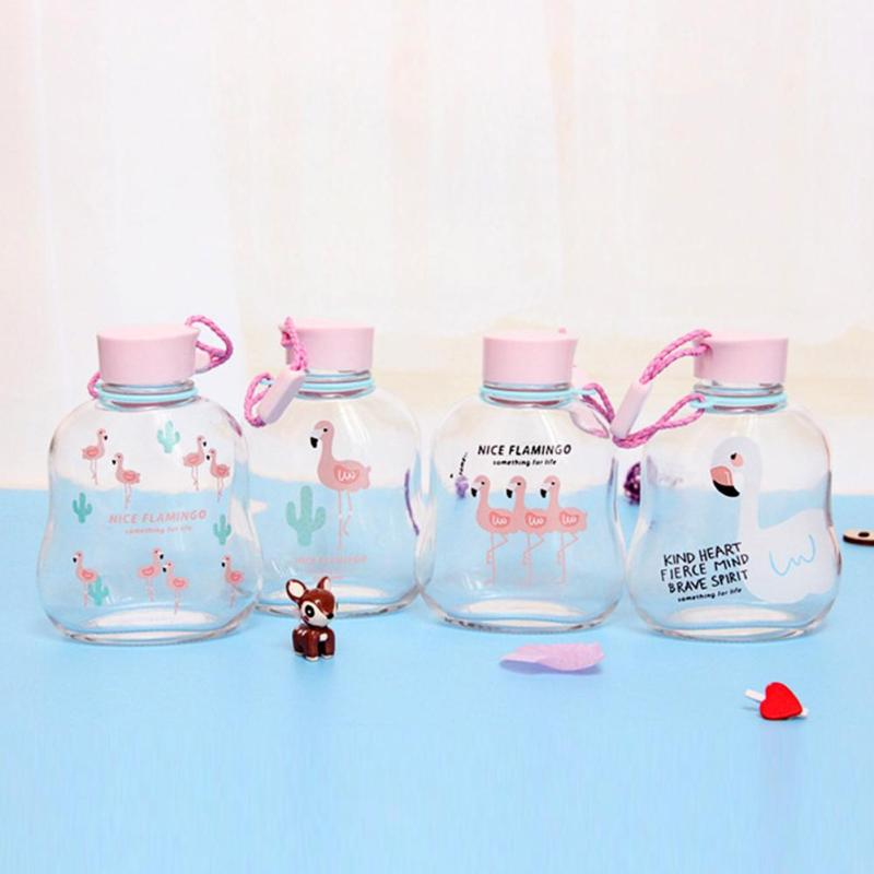 1 Pc Fashion Harness Flamingo Cartoon Glass Portable flat and transparent Drinking Teapot Sports Travel Water Glass Bottle #35