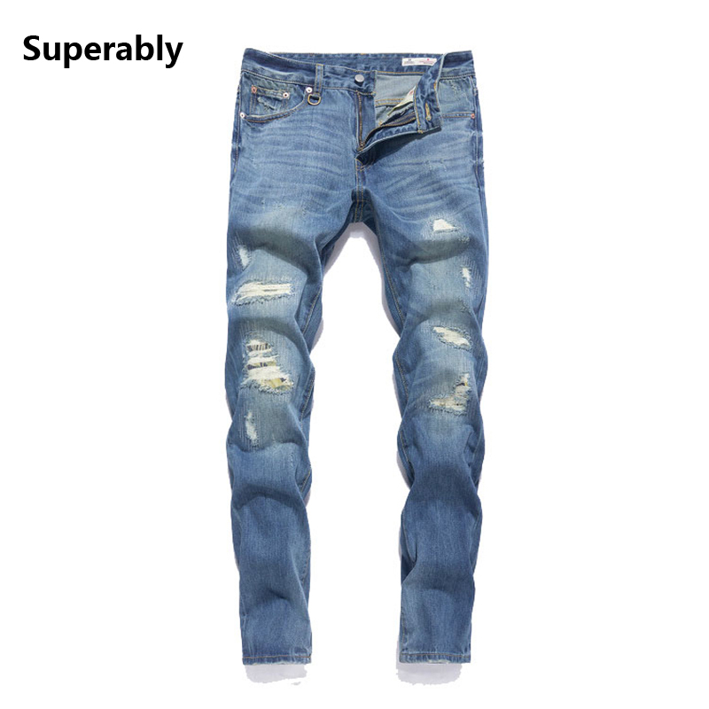 Superably Brand Moto Biker Jeans Men Regular Fit Ripped Denim Destroyed Trousers Mid Stripe Distressed Mens Blue Jeans 391-1 classic mid stripe men s buttons jeans ripped slim fit denim pants male high quality vintage brand clothing moto jeans men rl617