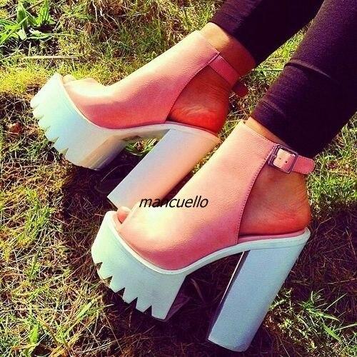 dc98ca687b6 Stylish Buckle Style Block Heel Booties Women Fancy Pink Peep Toe Platform  Chunky Heel Dress Sandals Sexy Slingback Shoes