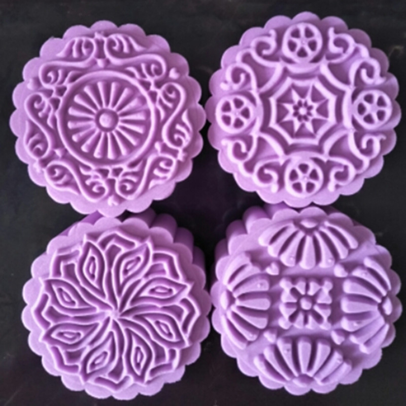 2c3d4c9c0 150 Grams Round Flower Moon Cake Mold Plastic Baking Pastry Tools Mooncake  Mould Hand Press Cake Plungers DIY Kitchen Bakeware