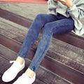 Otoño 2016 nueva chica de moda de las mujeres del todo-fósforo de lavado de edad alta stretch jeans pantalones mujer magia