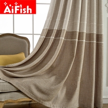 Grey Insulation Windows for Bedroom Coffee Jacquard Thick Faux Linen Curtains for Living Room Modern Curtains Fabrics AP262-30