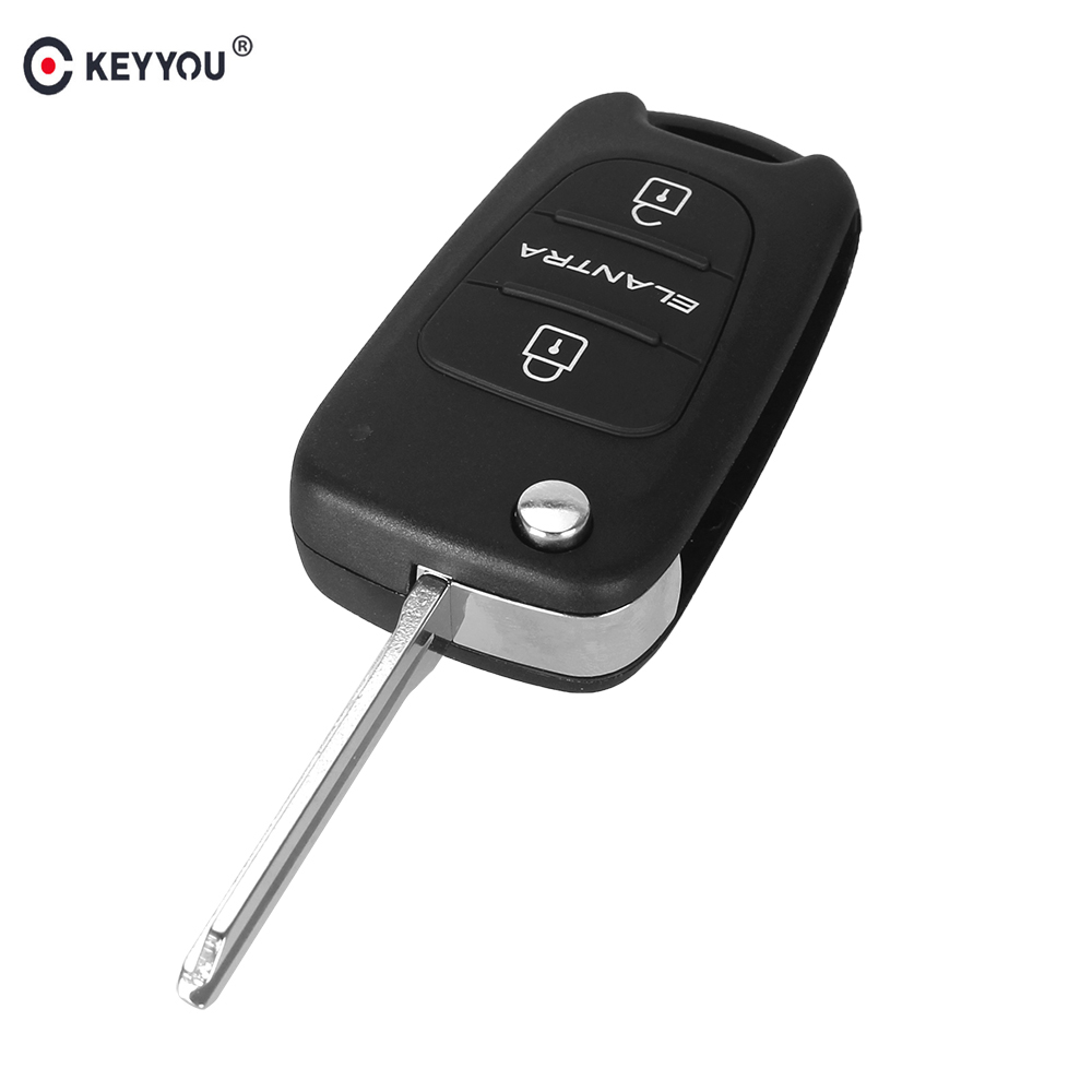 KEYYOU Remote Flip Folding Key Shell Case 3 Buttons For Hyundai ELANTRA Keyless Entry Fob Cover Car Alarm Housing fuzik keyless go smart key keyless entry push remote button start car alarm for honda accord odyssey crv civic jazz vezel xrv