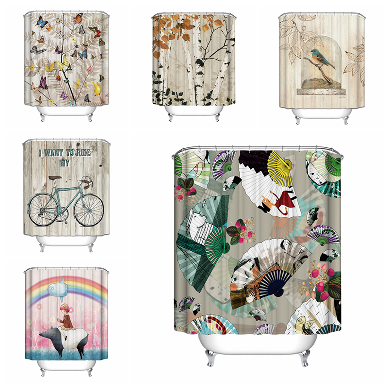 Aliexpress.com : Buy 2017 Newest Bicycle Shower Curtain Butterfly Tree Cage  Birds Fan Bathroom Curtains 6 O From Reliable Bicycle Shower Curtain  Suppliers ...