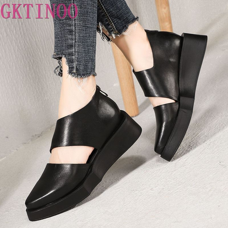 GKTINOO New Simple Fashion Thick Sole Women Shoes Original Retro Wedges Heels Summer Handmade Pointed Toe Sandals Black-in Middle Heels from Shoes    1