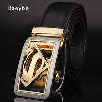 Superman Genuine Leather Belt Men Automatic Buckle Designer Brand Luxury Gold Silver Buckle Cowhide Belt Business