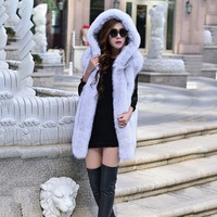 autumn winter natural real fox fur vest outwear fur with hoody thick women sleeveless coat genuine blue fox fur waistcoat jacket